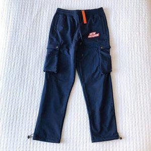 New Regime Fleece-Lined Logo Cargo Pants Navy